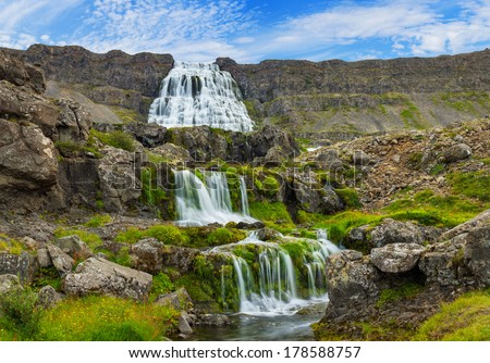 Dynjandi is the most famous and beautiful waterfall of the West Fjords in Iceland. Panorama