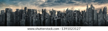 Dystopia city panorama / 3D illustration of futuristic post apocalyptic city ruins under bright sky