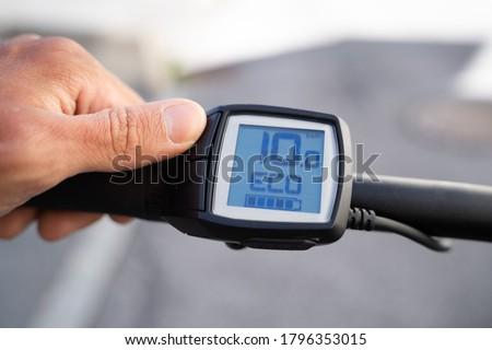 E Bike Computer Speed And Power Control. Electric Bike Photo stock ©
