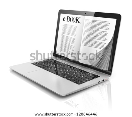 e-book 3d concept - book instead of display on the notebook, laptop