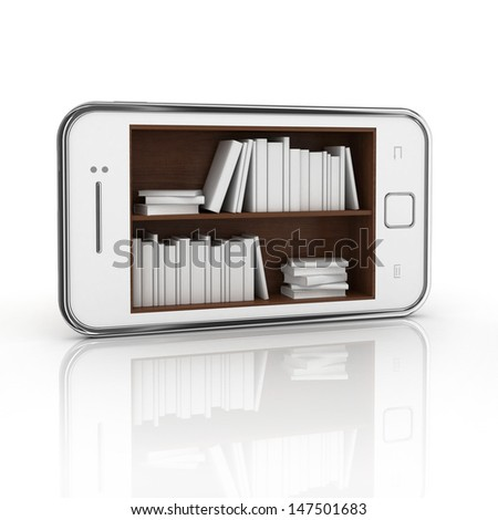 e-book 3d concept - book instead of display on the touch screen phone