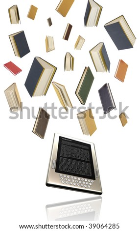 E-book, e-learning, modern education concept, distant learning, electronic book, all numbers are hand drawn by me