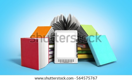 E-book reader Books and tablet 3d render image on gradient