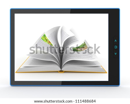 E-book reader. Books and tablet pc. computer generated