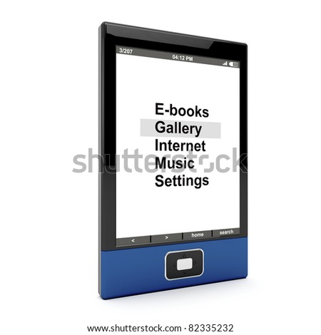 E-book reader on white background. 3d generated image.