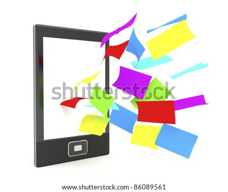 E-book reader with flying colorful papers on white background
