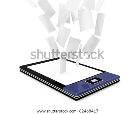 E-book reader with many documents (papers) on white background