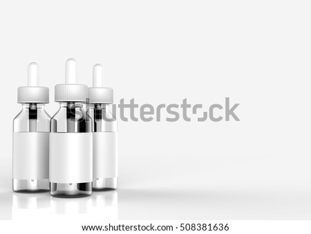 E cigarettes Liquid Bottle on white background. Vape. 3d illustration. #508381636