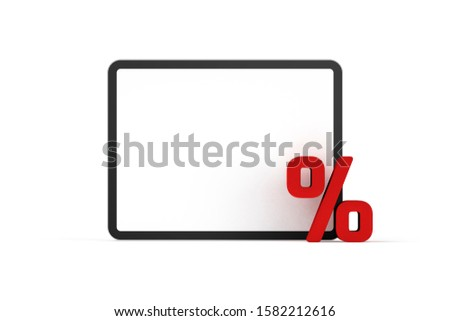 E-commerce and e-shop, marketing sale discount concept (Black Friday or cyber Monday) - digital tablet and percentage symbol on white background. Universal graphics element, 3D render.
