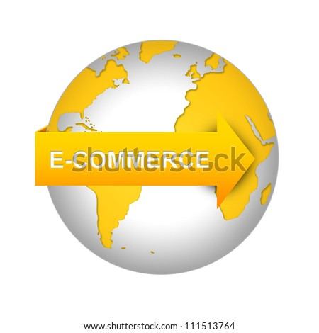 E-Commerce and Online Shopping Concept, Orange E-Commerce Arrow On The World Isolated on White Background