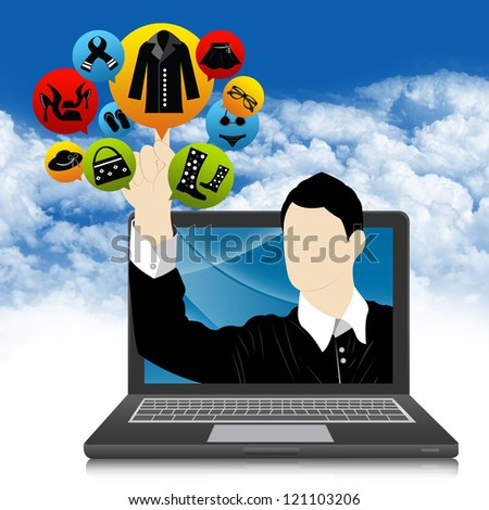 E-Commerce and Online Shopping Concept Present by Computer Notebook With Businessman Pointing to Colorful Women Fashion Icon in Blue Sky Background