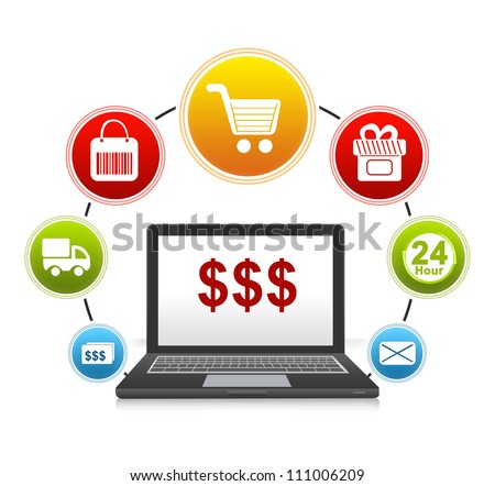 E-Commerce and Online Shopping Concept Present by Computer Notebook With Red Dollar Sign on Screen and Icon Around Isolate on White Background