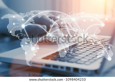 e-commerce business and international corporate trading concept. Communication network on world map. Worldwide connections.