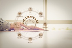 E-COMMERCE chart with keywords and icons on screen