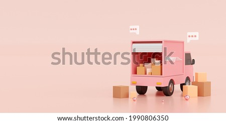 E-commerce concept, Transportation shipment delivery by truck, 3d illustration Stockfoto ©