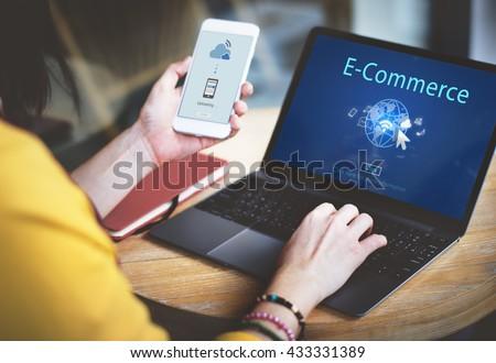 E-Commerce Digital Marketing Global Business Online Technology Concept