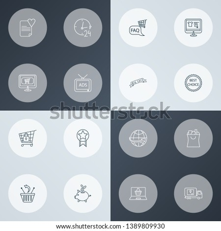 E-commerce icons line style set with returns, delivery truck, 24 hour service and other international delivery elements. Isolated  illustration e-commerce icons.