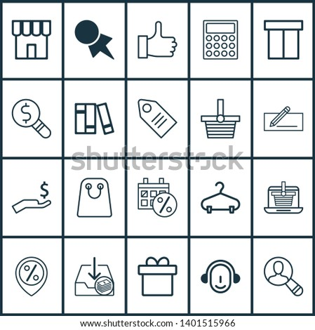 E-commerce icons set with package, incoming earnings, find audience and other calculator elements. Isolated  illustration e-commerce icons.