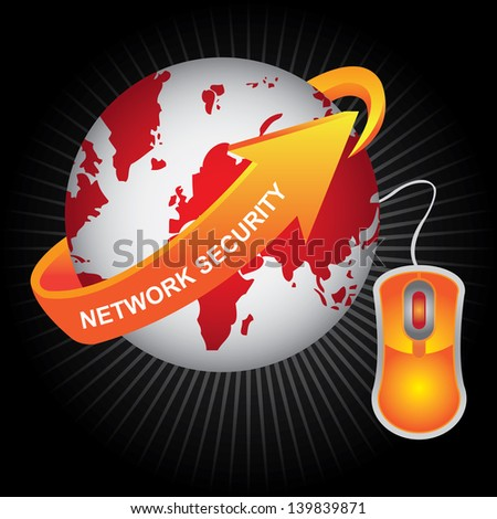 E-Commerce, Internet, Online Marketing, Online Business or Technology Concept Present By Red Earth With Orange Network Security Arrow and Orange Mouse in Dark Shiny Background