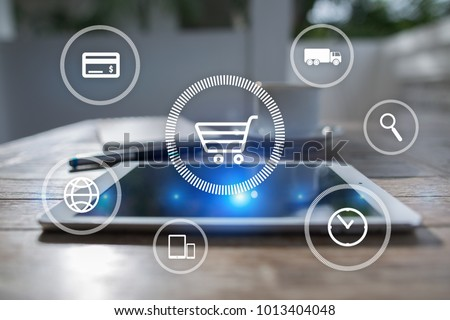 E-commerce. Internet shopping. Online purchase. Business, internet and technology concept.