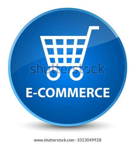 E-commerce isolated on elegant blue round button abstract illustration