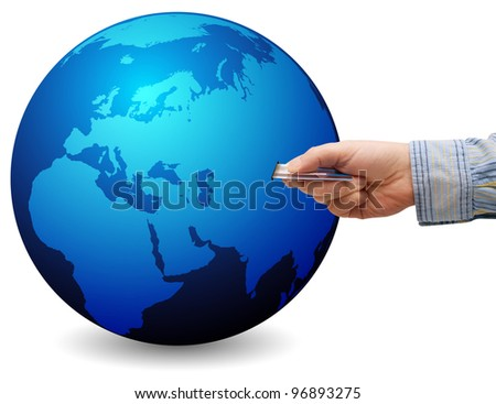 E-Commerce: Mans Hand With Credit Card and Globe with Map of World