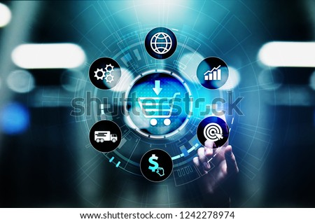 E-Commerce, Online chopping Internet business concept on virtual screen.