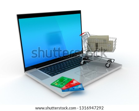 E-commerce. Shopping cart and credit cards on laptop. 3D rendering illustration