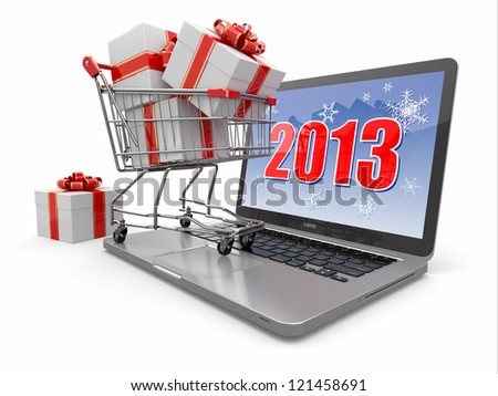E-commerce. Shopping cart and gifts on laptop. 3d