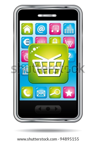 E-commerce shopping cart app on a smartphone.