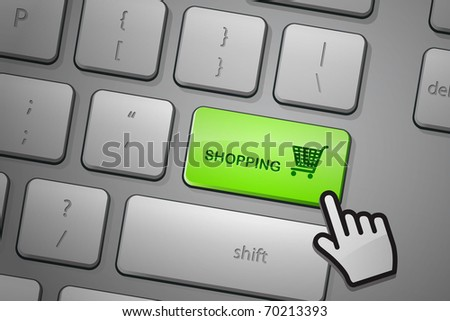 E-commerce shopping click. The whole keyboard is available behind the clipping path.