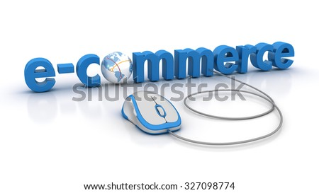E-COMMERCE Word with Globe Earth and Computer Mouse - High Quality 3D Render