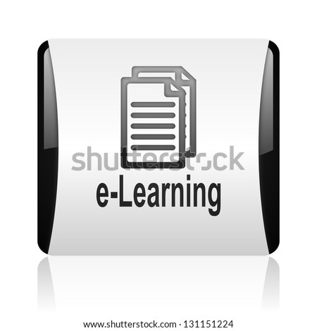 e-learning black and white square web glossy icon
