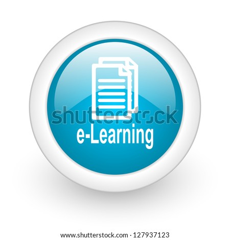 e-learning blue circle glossy web icon on white background
