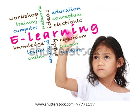 E-learning concept and other related words, asia little girl write on white board