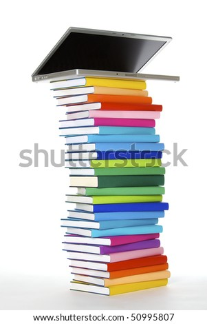 E-learning concept - laptop on top of stack of colorful real books on white background, side view. - stock photo