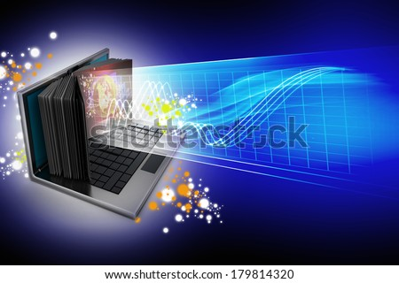 E-learning concept. Laptop screen as book