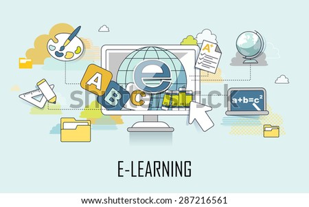 e-learning concept: learning elements and computer in line style