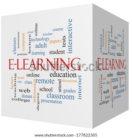 E-Learning 3D cube Word Cloud Concept with great terms such as classes, online, eductiona and more.