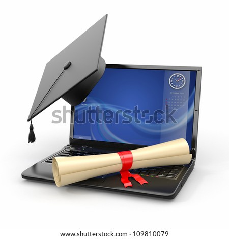 E-learning graduation. Laptop, diploma and mortar board. 3d