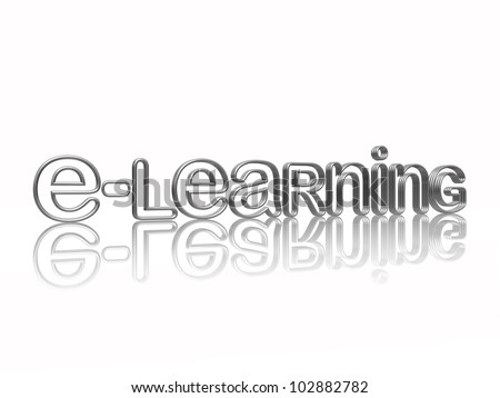 e-learning isolated 3d silver text with reflection