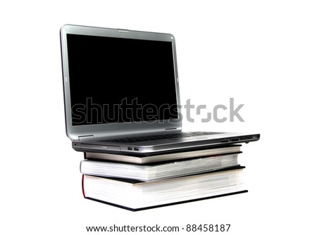 e-learning - laptop an books on white
