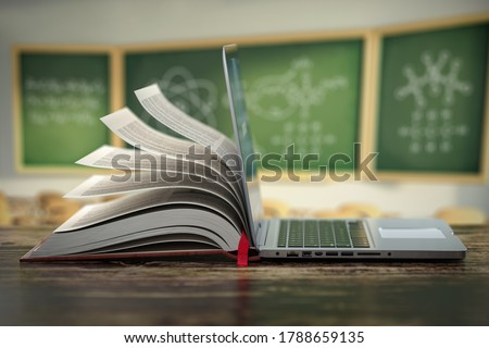 E-learning online education or internet  encyclopedia concept. Open laptop and book compilation in a classroom. 3d illustration ストックフォト ©