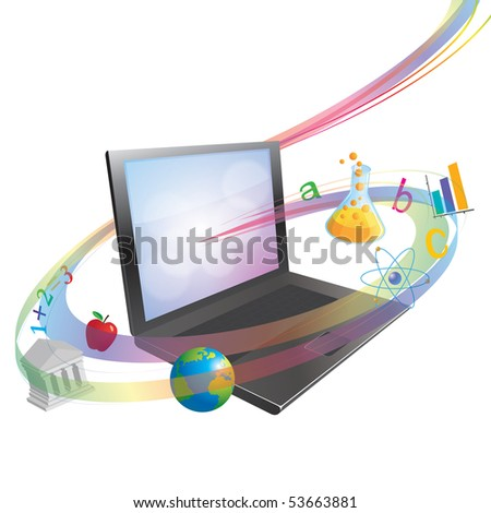 E-Learning or On-line Schooling Concept Illustration
