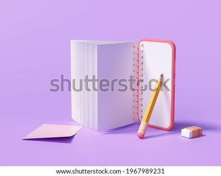 E-learning or online education concept. online course on smartphone. 3d render illustrationn