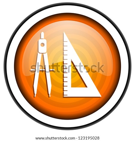 e-learning orange glossy icon isolated on white background