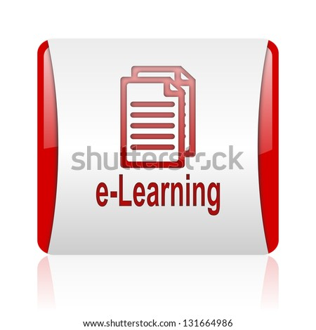 e-learning red and white square web glossy icon