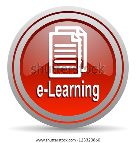 e-learning red glossy icon on white background