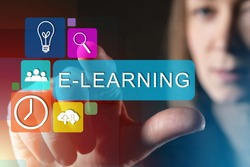 E-learning via Internet. Girl reaches for lettering e-learning. She clicks on it on virtual screen. Online training for online courses. Electronic platform for e-learning. Online university admission