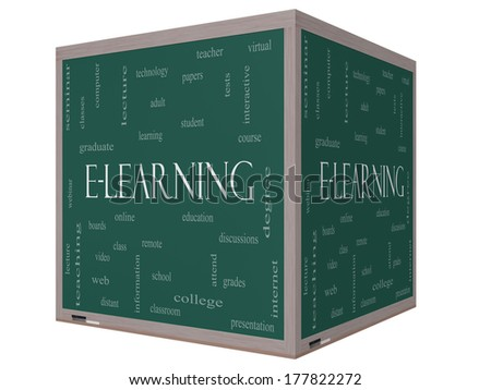E-Learning Word Cloud Concept on a 3D cube Blackboard with great terms such as classes, online, eductiona and more.